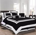 7-Piece Caprice Square Pattern Hotel Comforter Set Black/White (4 Sizes)