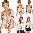 Fashion Women's Summer Long Sleeve Off Shoulder Loose Casual Blouse Tops T-Shirt