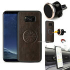 For Samsung Galaxy S8 S8 Plus Real Leather Slim Case Cover +Magnetic Car Holder