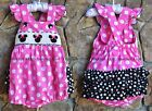 Smocked A Lot Girls Minnie Mouse Ruffle Butt Short Bubble Pink Polka Dot Dress
