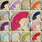 50 pcs HAND FANS Summer Silk Fabric Folding Wedding Favor...