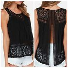 Summer Women Lace Cami Vest Top Sleeveless Blouse Casual Tank Tops T-Shirt Black