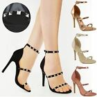 Womens Ladies Studded Barely There High Heel Strappy Party Sandals Shoes Size UK