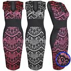 LADIES FLORAL LACE BODYCON MIDI DRESS WOMENS CONTRAST BLACK SLIMMING LOOK PENCIL