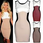 NEW LADIES CONTRAST PANEL MINI DRESS WOMENS CELEB SLIM BODYCON LOOK TOP PARTY