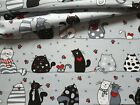LOVELY ,new design cats white/red FABRIC 100%COTTON 160cm wide