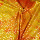 Brilliant Sunset Batik With Metallic Gold Swirls, Cotton, Quilting & Apparel