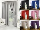 Thermal Pencil Pleat Blackout Pair Curtains Ready Made Fully Lined Free Tiebacks