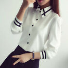 Fashion Women Long Sleeve Button Office Career Formal Slim Blouse Shirt Tops