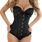 Women Lace up Overbust Corset Satin G-string Magic Series Lingerie Black S-6xl