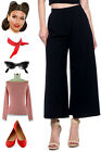 Vintage Style BLACK High Waist Gaucho Culotte WIDE LEG Flood Pant Trouser Pants