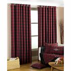 Riva paoletti Valdisere cranberry wool mix tartan check eyelet curtains, 3 sizes