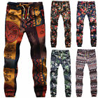 Casual Cotton Men Drawstring Gecko Floral Pattern Print Narrow Feet Jogger Pants