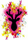 Stunning Fuchsia Modern Deer / Stag Splash POSTER by FunWorld 2017 Wall Art