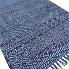 3 X 5, 4 X 6 ft Blue Cotton Block Print Accent Area Dhurrie Rug Flat Weave Hand