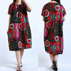 ZANZEA Oversize Damen Retro Floral Sommer Kurzarm Party Kaftan Long Kleid Dress