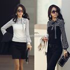 New Womens Casual  Bowknot Long Sleeve Striped Tops Blouse T-Shirts Shirts01