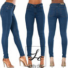 WOMENS HIGH WAISTED DENIM SKINNY JEANS LADIES JEGGINGS SIZE 6 8 10 12 14