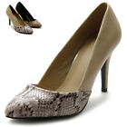 ollio Women's Shoes High Heels D'orsay Snake Skin Dress Pumps