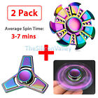 2 Packs Rainbow Tri Fidget Hand Spinner Brass Metal Finger Toy Focus EDC ADHD