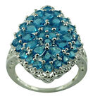3.49 Ct. Neon Apatite Natural Ring Solid 925 Silver Beautiful Lady Gift Jewelry
