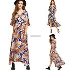 New Fashion Women Casual Deep V-Neck Short Sleeve Front Lace Up Sexy Dress N98B