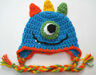 CROCHET BOY MONSTER BABY HAT infant toddler blue cap beanie  photo prop