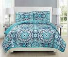 Mk Collection 3pc Bedspread coverlet quilted Floral Turquoise Teel Blue Gr..