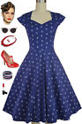 NAVY Anchors & Dots Soubrette Brunette 50s Style Sweetheart Neckline Pinup Dress