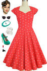 RED Anchors & Dots Soubrette Brunette 50s Style Sweetheart Neckline Pinup Dress