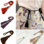 Fashion Women Ladies Braided Belt Cotton Tassel Self-Tie Thin Waist Rope Belt