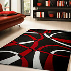 Ebern Designs Nevaeh Black/White/Red Area Rug