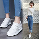 Women Wedge Studded Trainers Cutout Loafers Causal Lace Up Platform Shoes