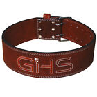 """GHS Weight Lifting 4""""Leather Belt Back Support Strap Gym Power Fitness Training"""