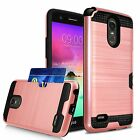 For LG Stylo 3 / Stylo 3 Plus Case Hybrid Shockproof Back Cover with Card Pocket