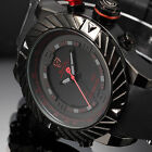SHARK Men's LED Digital Quartz Wrist Watch Black Silicone Date Army Sport Alarm