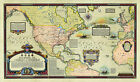 Overland and Overseas Flights of Charles A. Lindbergh Vintage Historic Wall Map