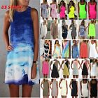 Women Ladies Short Mini Dress Summer Beach Tunic Sleeveless Tank Vest Sun Dress