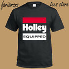 New Holley Equipped Performace Racing Logo Men's Black T-Shirt Size S to 3XL image
