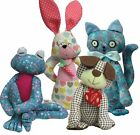 """Soft toy animal sewing KITS choose dog cat frog or rabbit by pcbangles  8"""" - 10"""""""