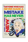 Colourful Famous Albert Einstein Mistake Quote Poster Prints Wall Art Pictures