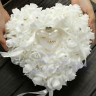 Внешний вид - Wedding Ceremony Ivory Satin Crystal Flower Ring Bearer Pillow Cushion