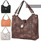 NEW WOMENS HIGH QUALITY PU LEATHER POCK FRONT SHOULDER HOBO TOTE BAG