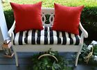 Black White Stripe Tufted Cushion, Red Pillows Bench~Swing~Glider, Choose Size