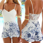 Women's Strap Jumpsuit V-neck Backless Playsuits Floral Shorts Beach Rompers