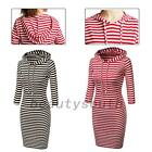 Striped 3/4 Sleeve Cotton Night Out Club Sheath Bodycon Tunic Short Hooded Dress