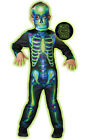 Fancy Dress Costume ~ Boys Halloween Neon Skeleton Childs Costume Ages 3-8 Years