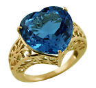 Swiss Blue Topaz 16.04 Ct. Ring New Valentines Love Heart Curved Gold Jewelry