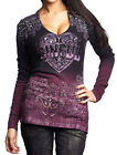Affliction Sinful Women Shirt Heart Wings Paisley Graphic Long Sleeve in Purple