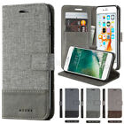 Luxury Canvas Leather Magnetic Wallet Card Flip Stand Case Cover For Cell Phones